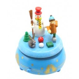 Wooden music box with cnowman and child