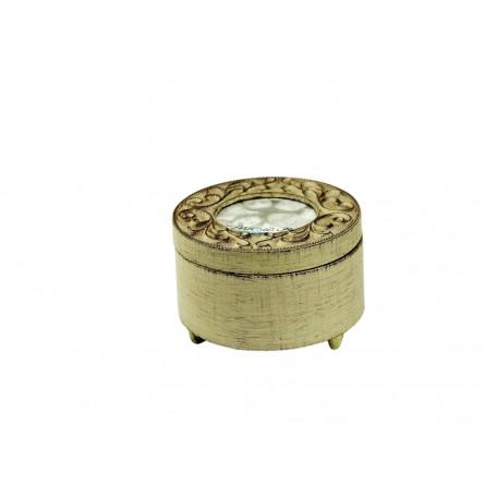 Antique white wooden round box