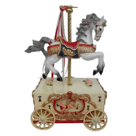 Carousel horse on a cart