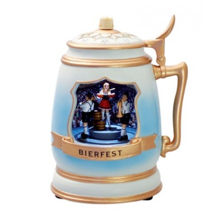 Beer mug with a brew house scene