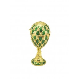 Green jewelry egg in Fabergé style