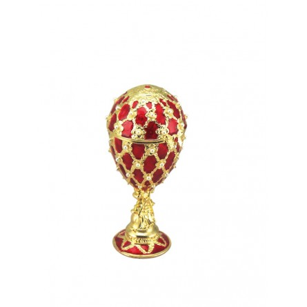 Red jewelry egg in Fabergé style