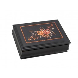 Jewelry box made of wood with floral motif
