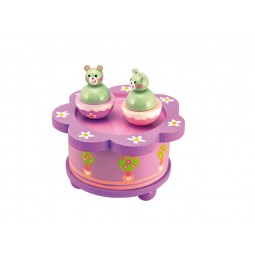 Wooden music box dancing cats