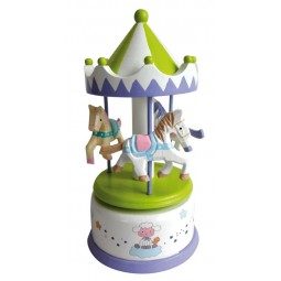 Wooden carousel green-white