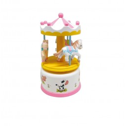 Wooden carousel pink-white