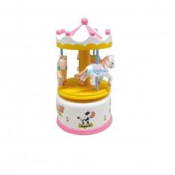 Wooden carousel pink-white