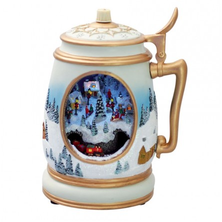 Beer mug with a illuminated train scene