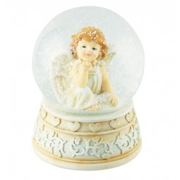 White snow globe with thinking angel