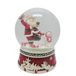Snow ball throwing Santa