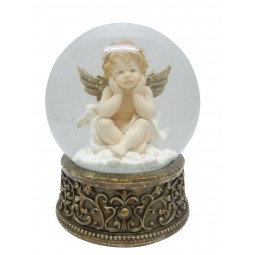 Snow globe cherub with 2 hands on the head