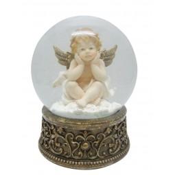 Snow globe cherub with 2 hands on the head