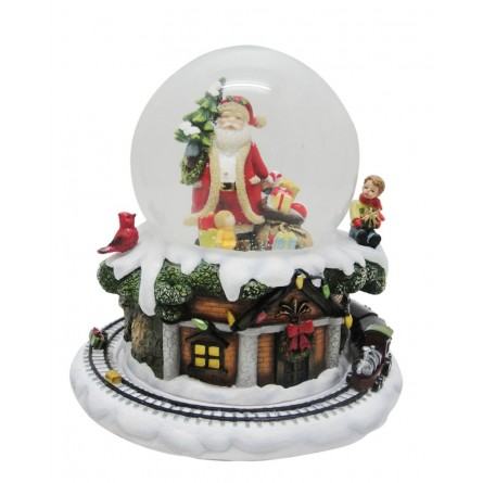 Santa snow globe with tree and gifts