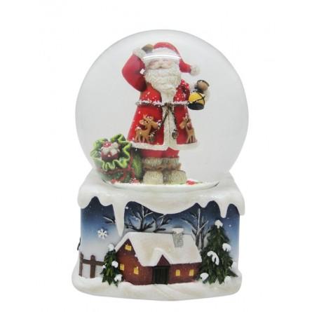 Snow globe Santa with lantern and gifts bag