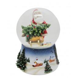 Santa snow globe with tree on the slide