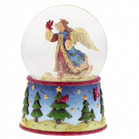Snow globe with angel motif and blue base