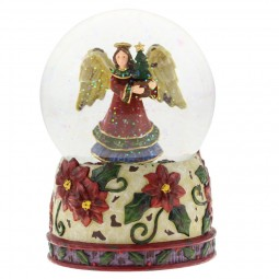 Snow ball with angel motif with decorated flowered base