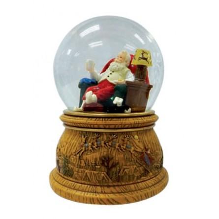 Snow globe Santa in armchair
