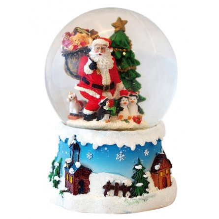 Snow globe Santa with penguins