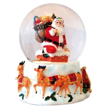 Snow globe Santa in the chimney