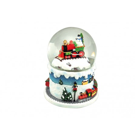 Snow globe train with snowman