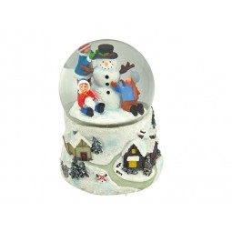 Snow globe snowman with children