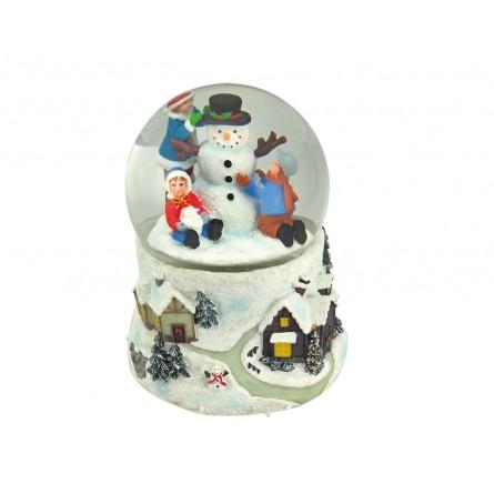 Snow globe snowman with children