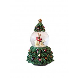 Tree with globe 65 mm/white bear