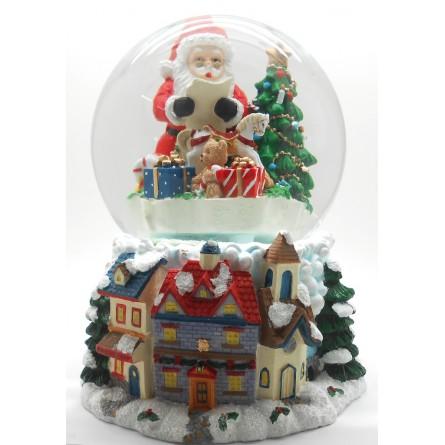 Snow globe Santa with gifts