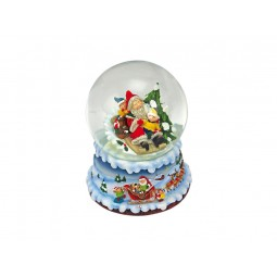 Blue snow globe Santa and children