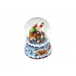 Blue snow globe Santa in the chimney