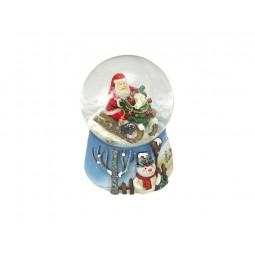 Blue snow globe Santa on the sled