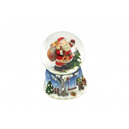 Blue snow globe Santa with sack