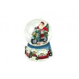 Blue snow globe Santa on a motorcycle