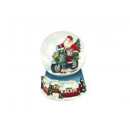 Blue snow globe Santa/Motorbike