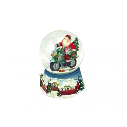 Blue snow globe Santa on a motorcycle